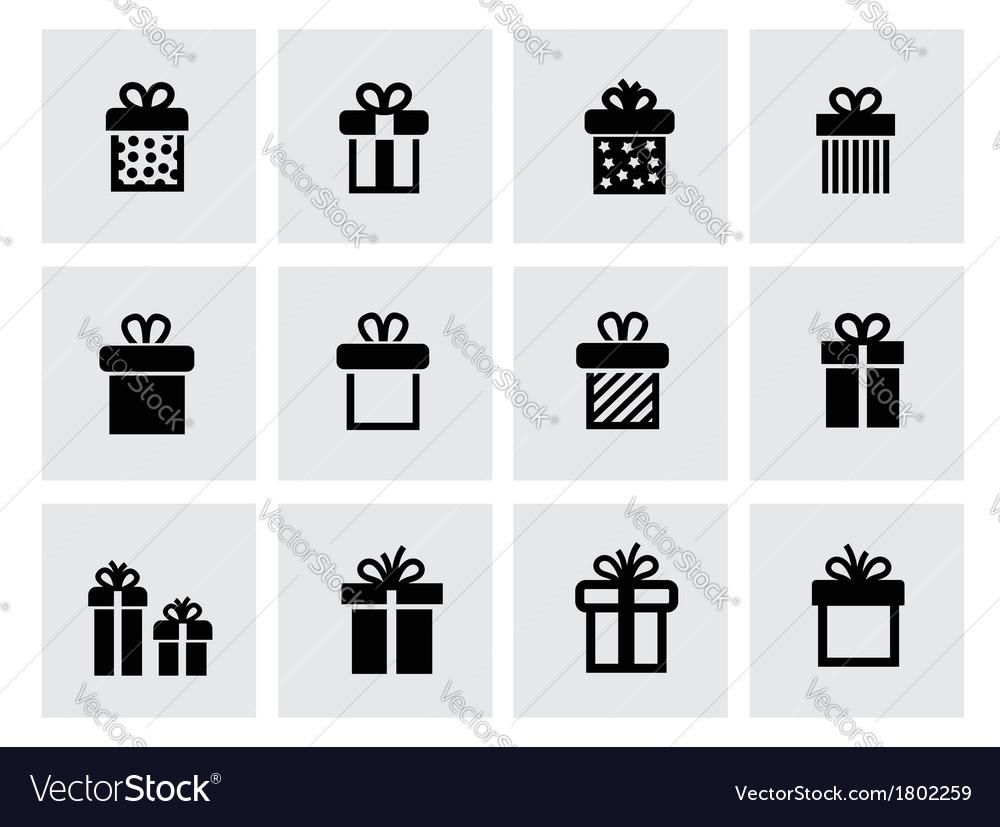 Black gift icon set on white vector | Price: 1 Credit (USD $1)