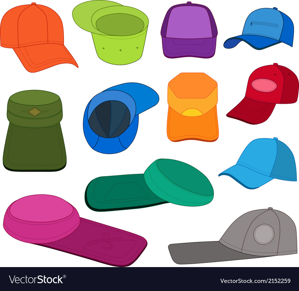 Cap template colored set vector | Price: 1 Credit (USD $1)