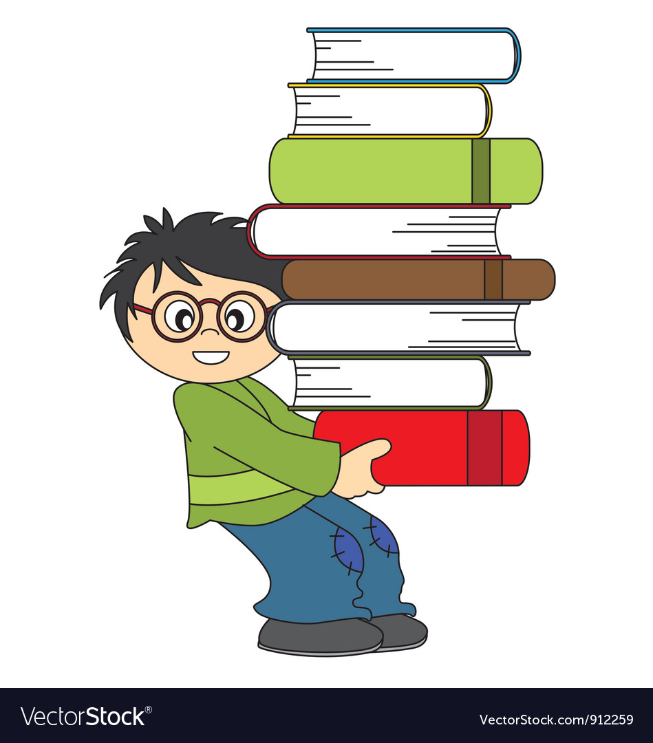 Child with a lot of books to study vector | Price: 1 Credit (USD $1)