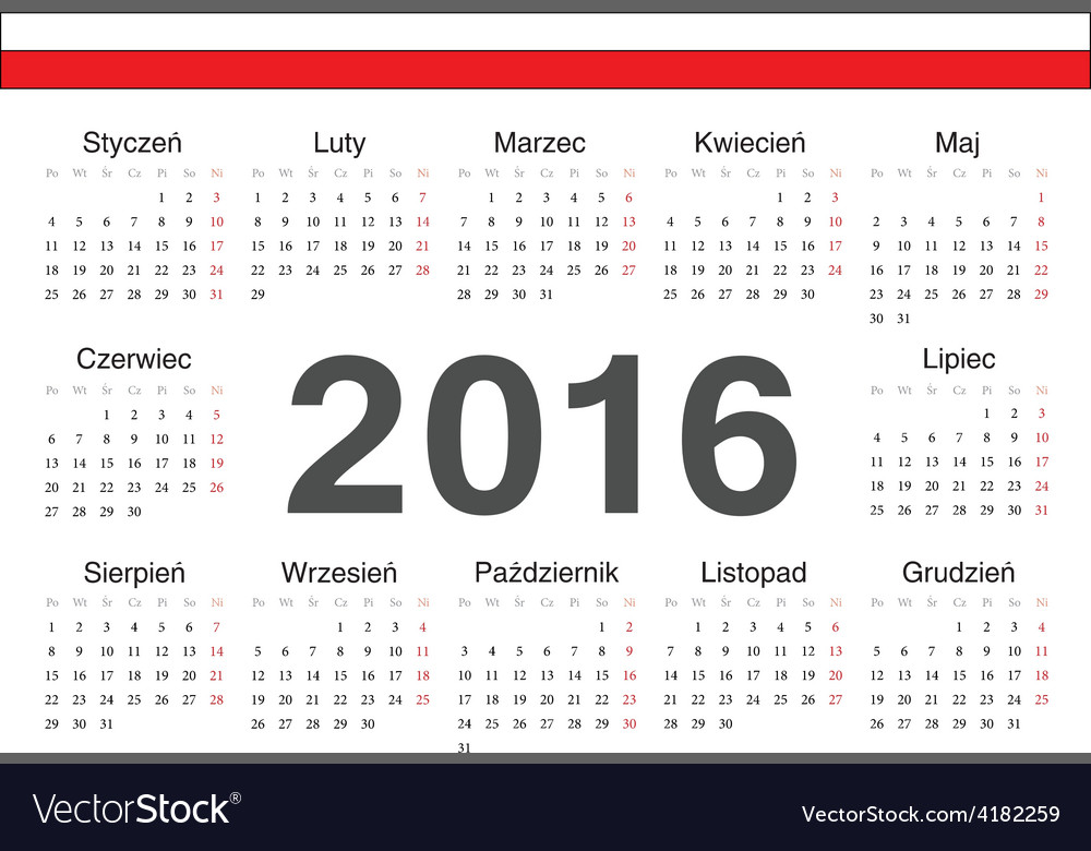 Circle polish 2016 year calendar vector | Price: 1 Credit (USD $1)