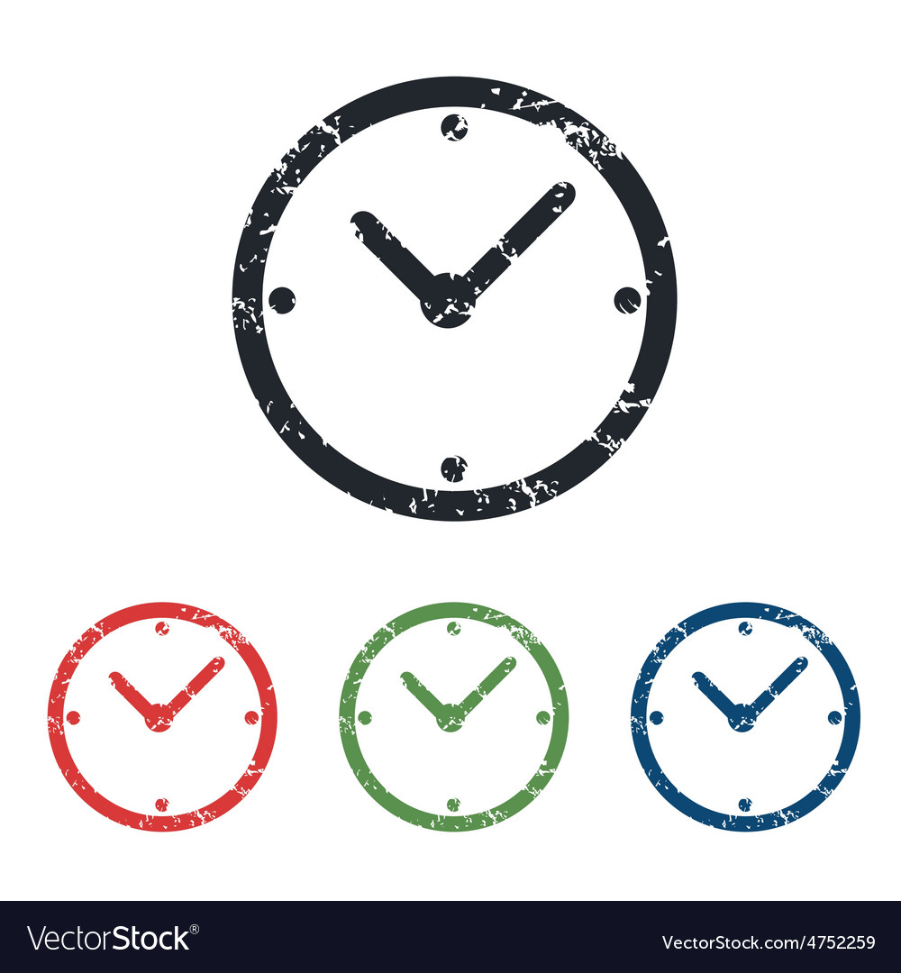 Clock grunge icon set vector | Price: 1 Credit (USD $1)