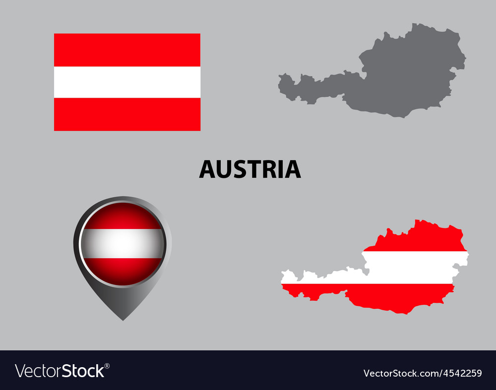 Map of austria and symbol vector | Price: 1 Credit (USD $1)