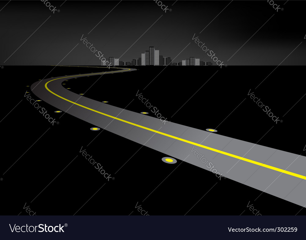 Road at night vector | Price: 1 Credit (USD $1)