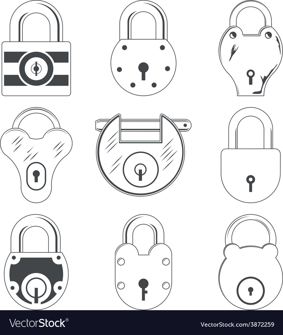 Set of nine grey padlocks vector | Price: 1 Credit (USD $1)