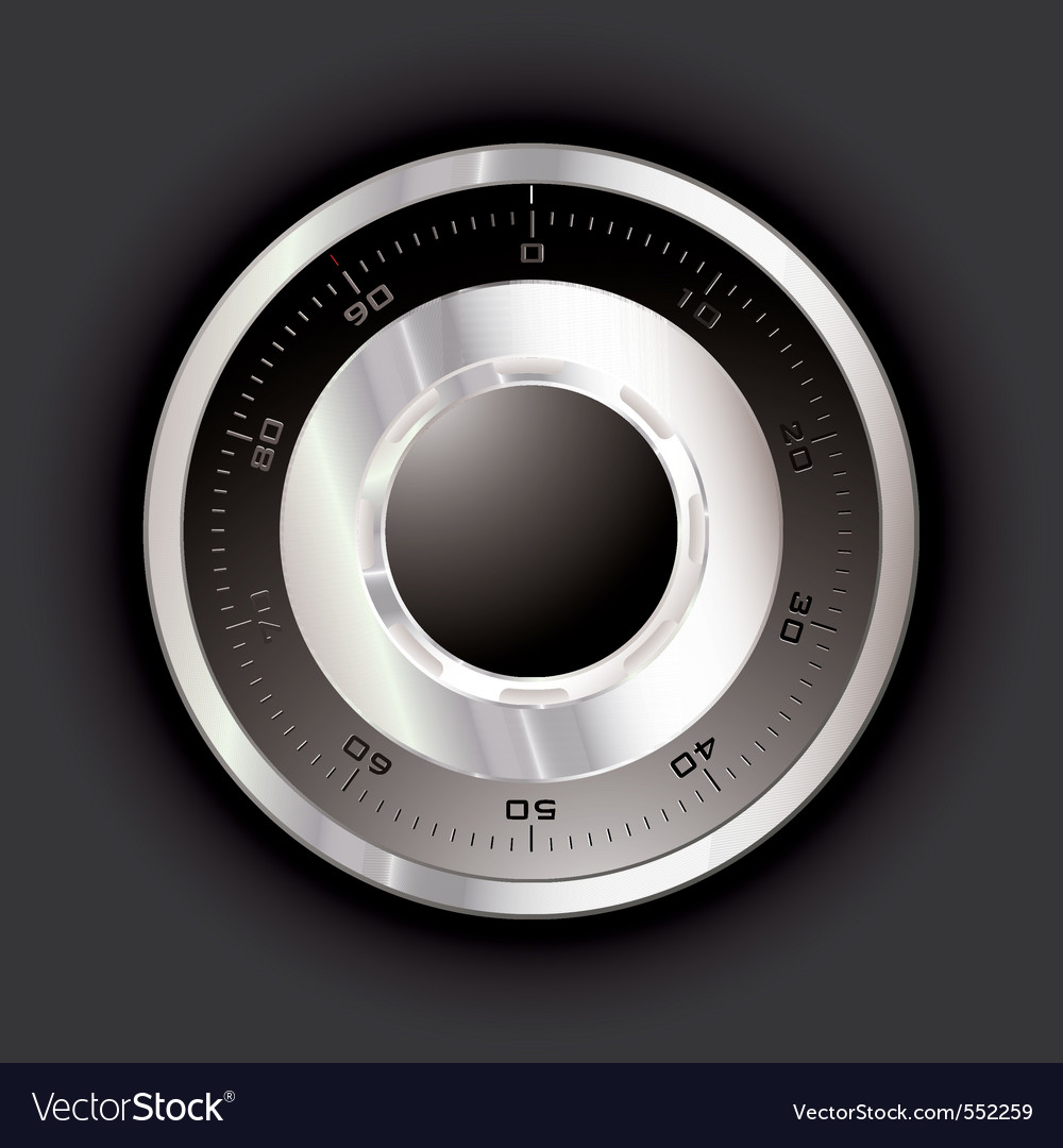 Silver metal safe dial with black background vector | Price: 1 Credit (USD $1)