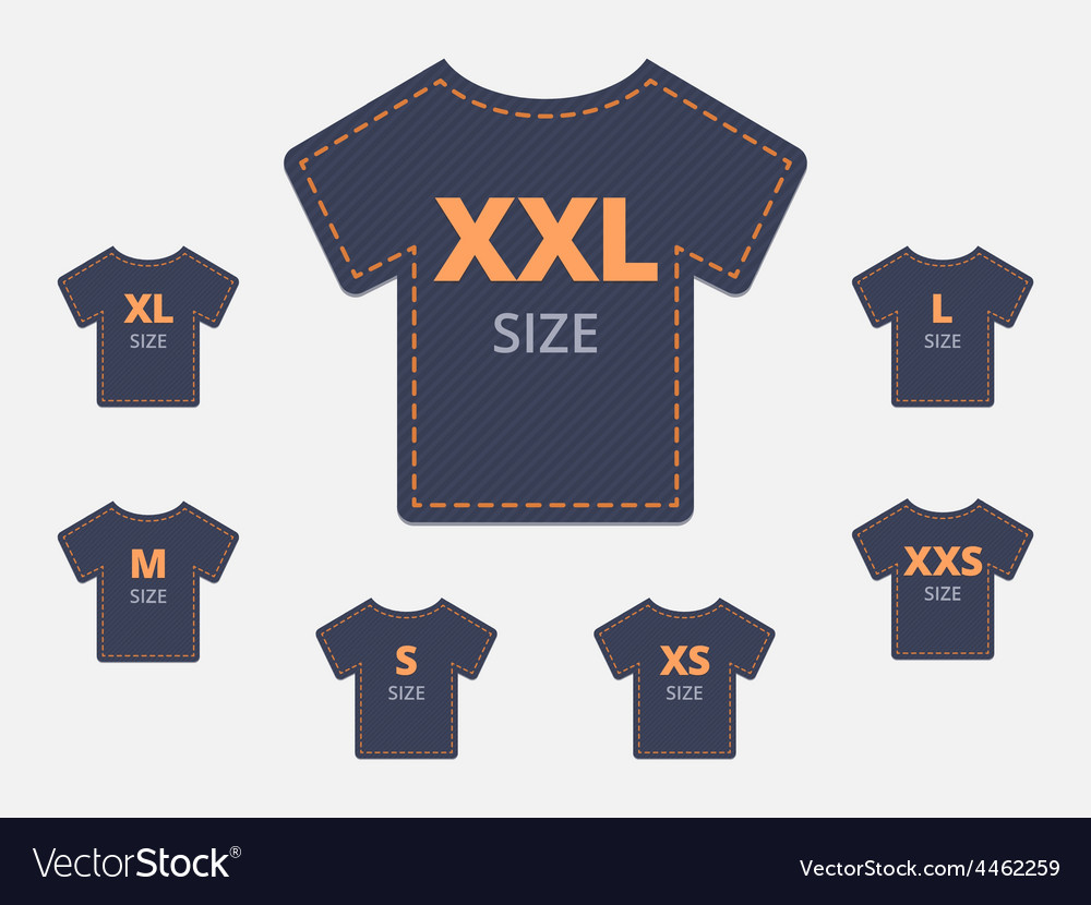 Size clothing tshirt stickers set vector