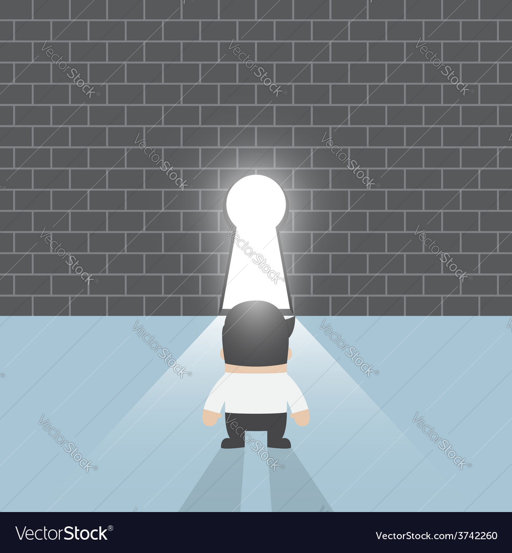 Businessman standing in front of keyhole vector | Price: 1 Credit (USD $1)