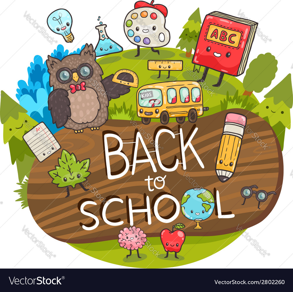 Cartoon characters back to school background vector | Price: 1 Credit (USD $1)