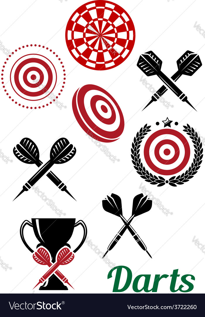 Darts sporting red and black design elements vector | Price: 1 Credit (USD $1)