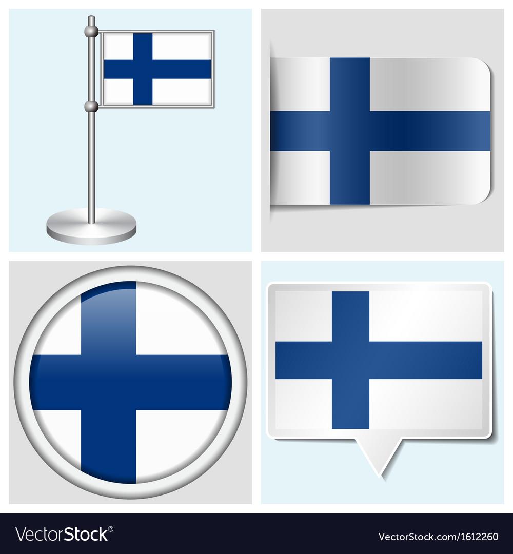 Finland flag - sticker button label flagstaff vector | Price: 1 Credit (USD $1)