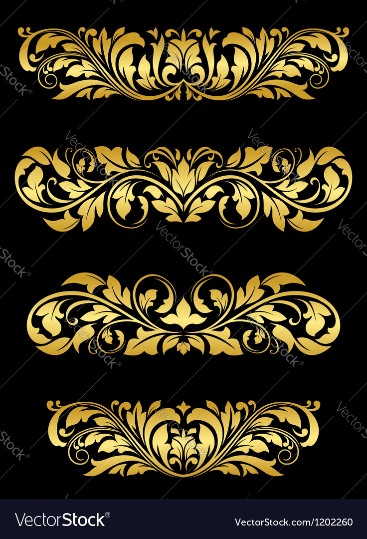 Golden floral embellishments vector | Price: 1 Credit (USD $1)