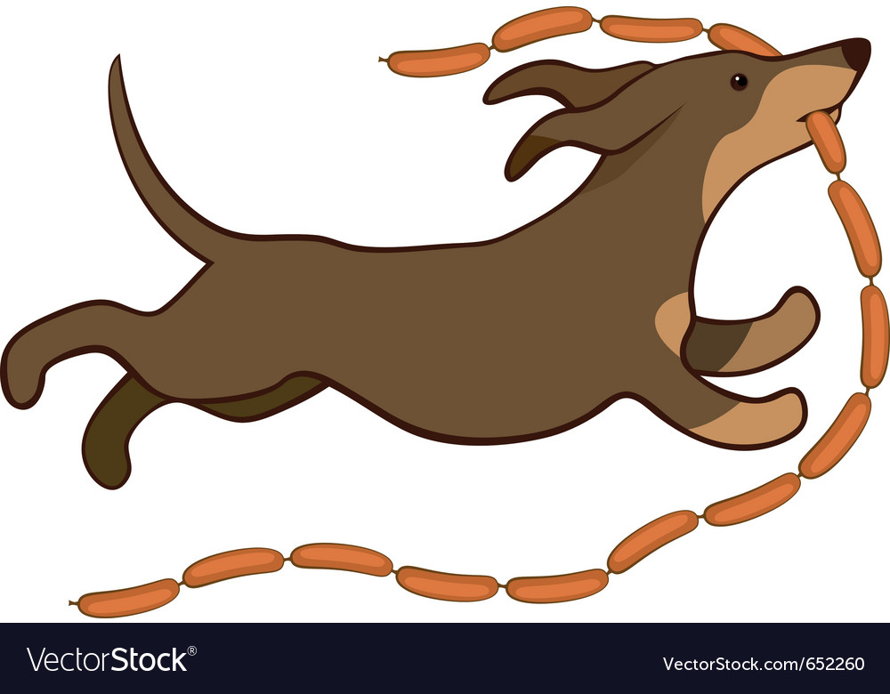 Lucky dog with sausages vector | Price: 1 Credit (USD $1)