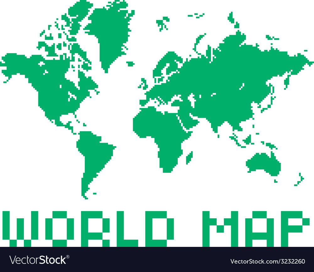 Pixel art style world map green color shape vector | Price: 1 Credit (USD $1)