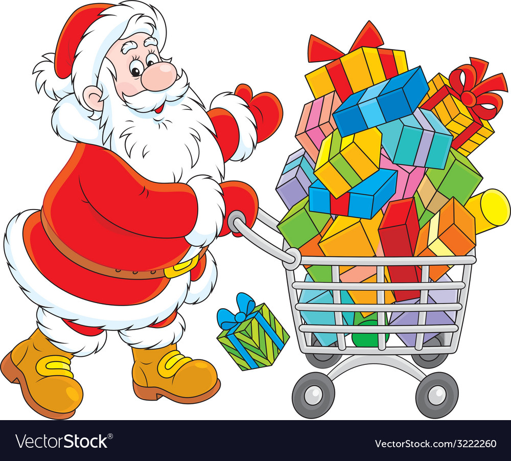 Santa with a shopping cart of gifts vector