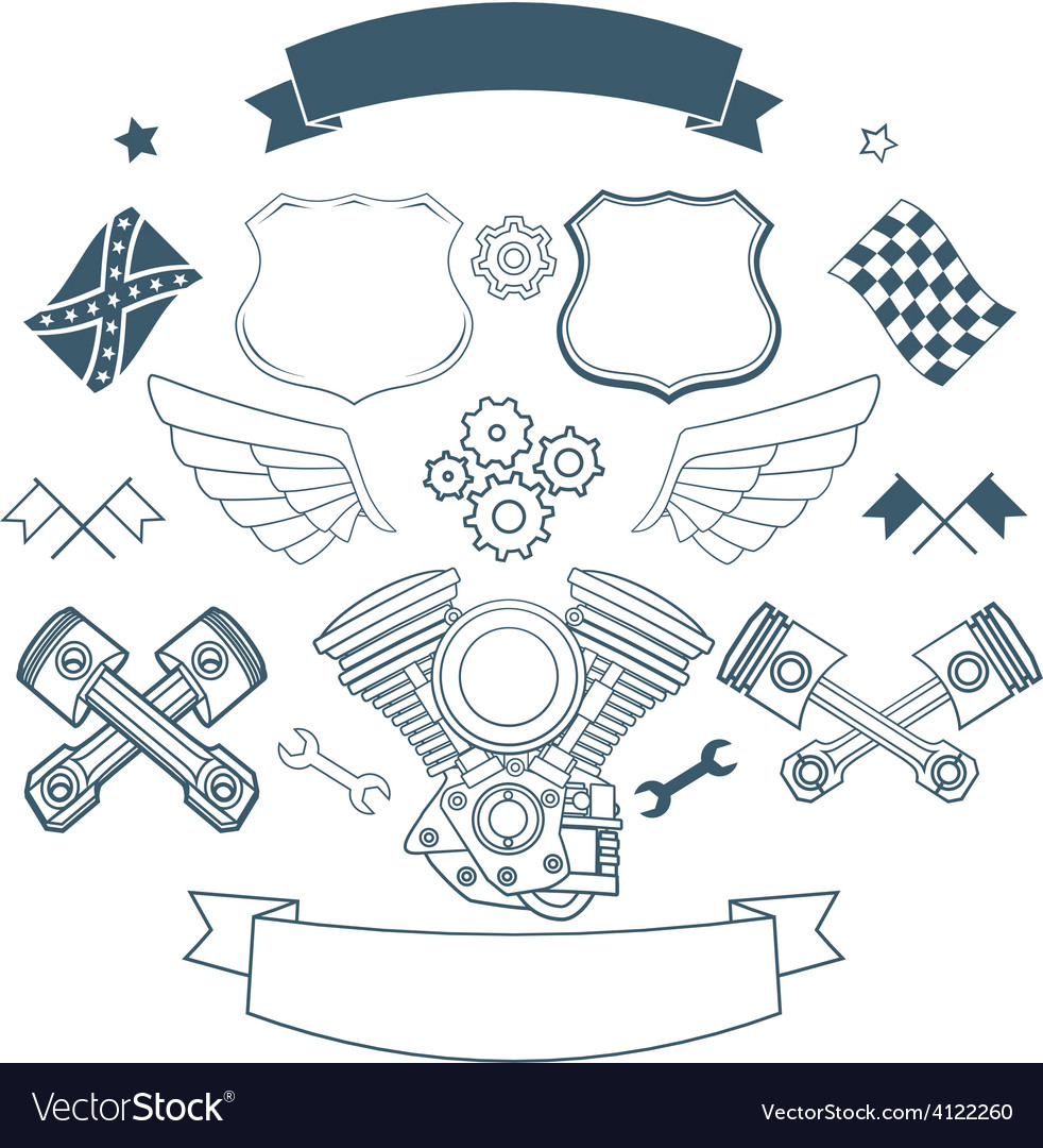 Set of biker label elements vector | Price: 1 Credit (USD $1)