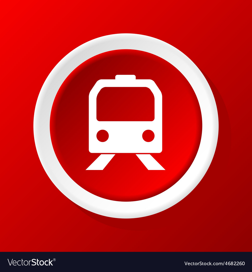 Train icon on red vector | Price: 1 Credit (USD $1)