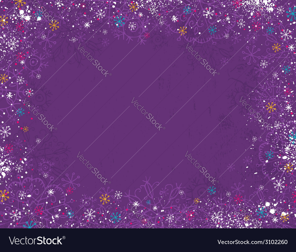 Violet christmas background with hand draw snowfla vector | Price: 1 Credit (USD $1)