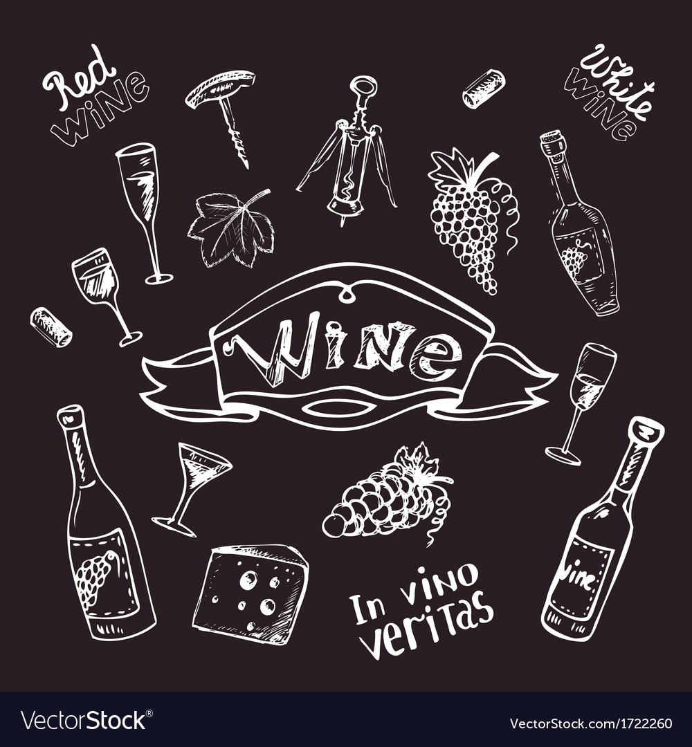 Wine set on chalk board vector | Price: 1 Credit (USD $1)