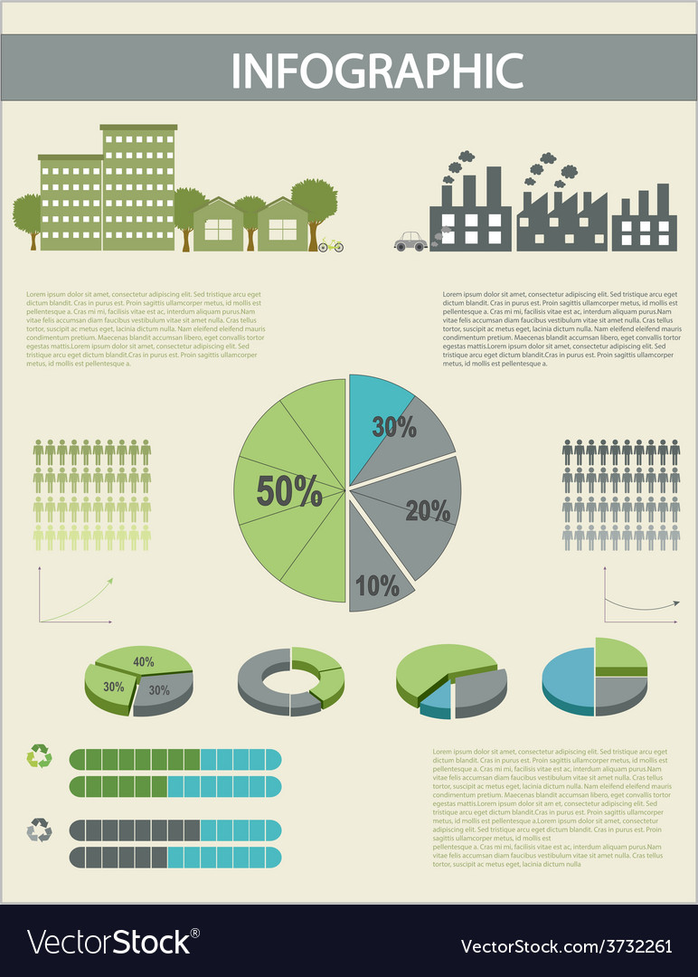 An infographics with pie graphs vector | Price: 1 Credit (USD $1)