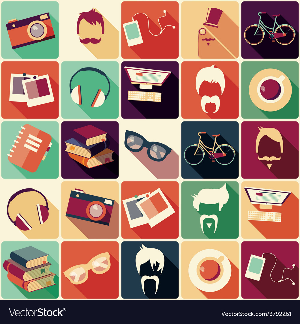 Collection of retro hipster elements vector | Price: 1 Credit (USD $1)