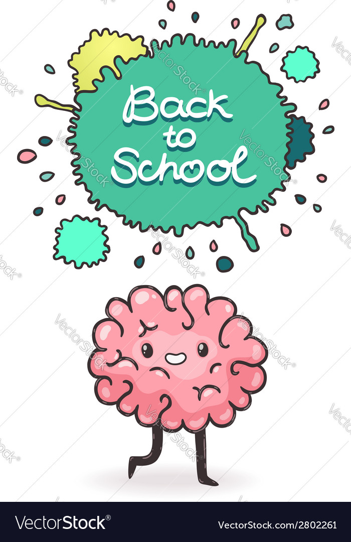 Cute cartoon brain back to school background vector | Price: 1 Credit (USD $1)