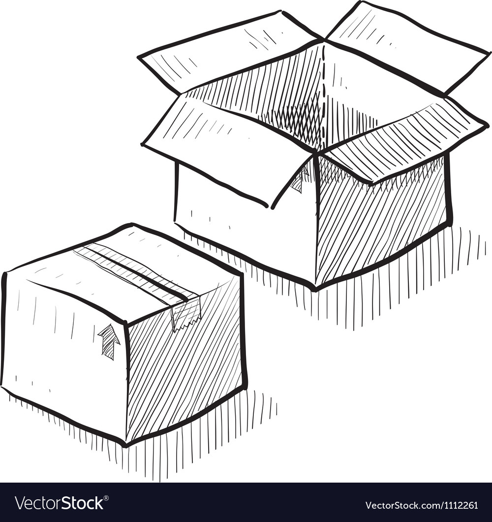Doodle boxes moving packing vector | Price: 1 Credit (USD $1)