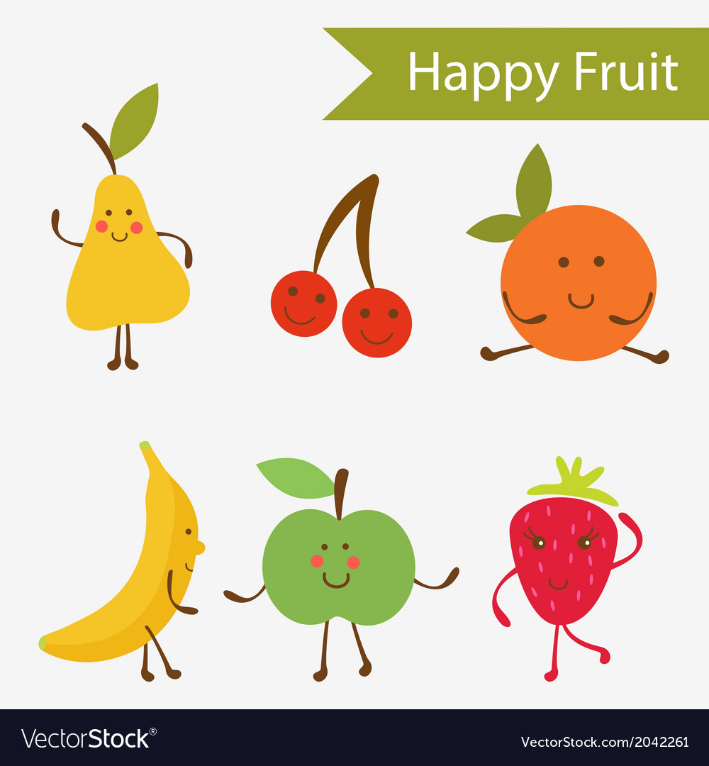 Happy fruit characters vector | Price: 1 Credit (USD $1)