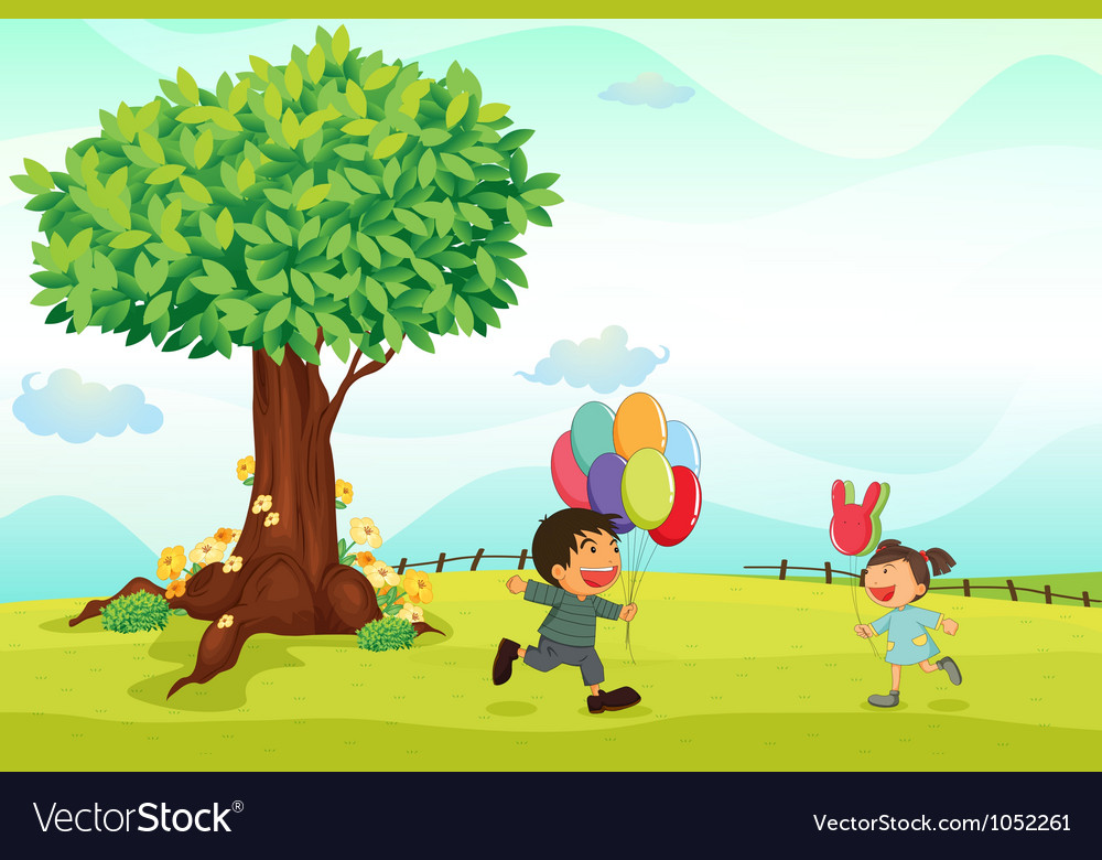 Kids playing outdoor vector | Price: 3 Credit (USD $3)