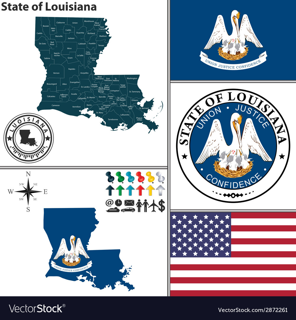 Map of louisiana with seal vector | Price: 1 Credit (USD $1)