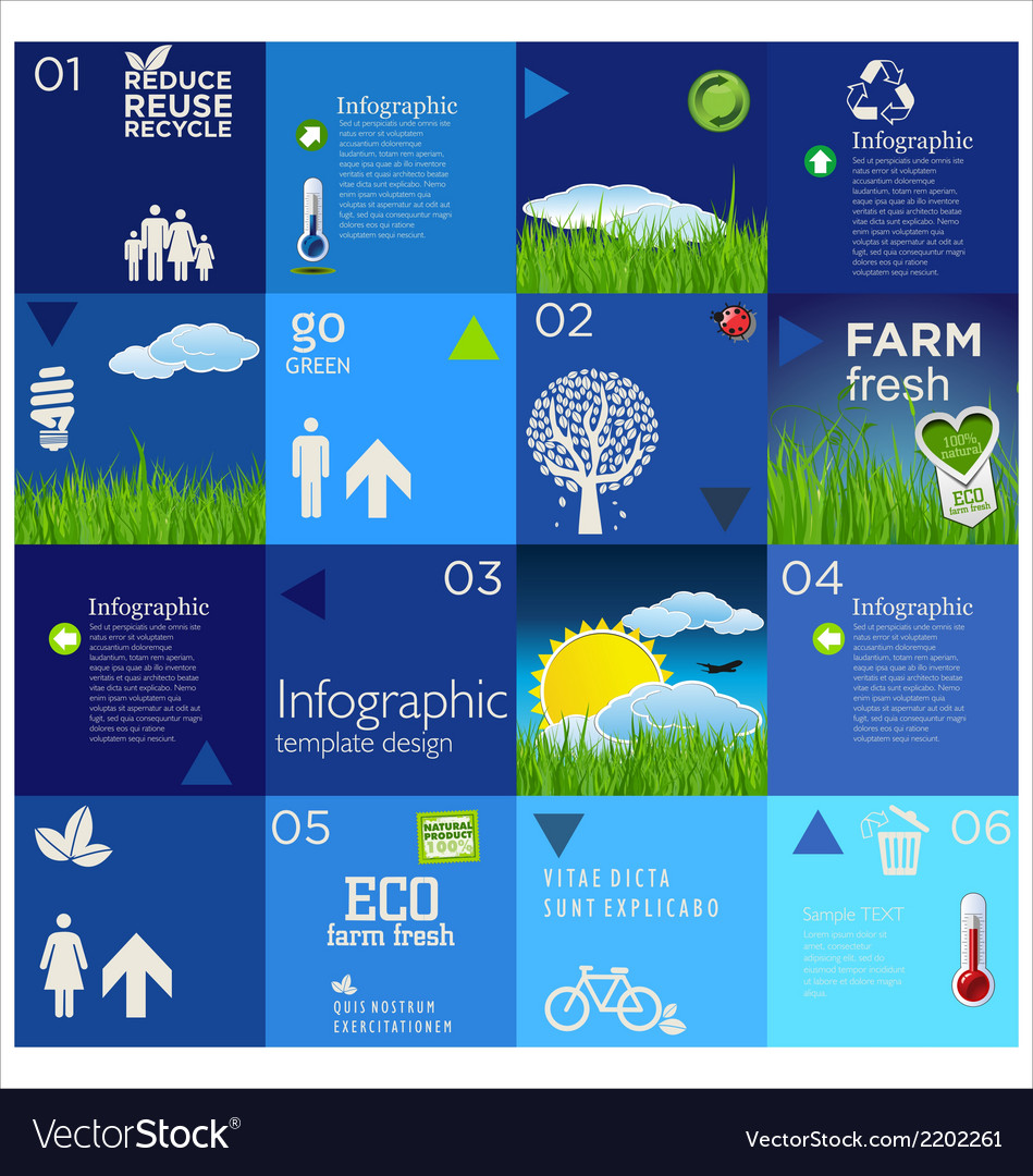Modern blue ecology template design vector | Price: 1 Credit (USD $1)