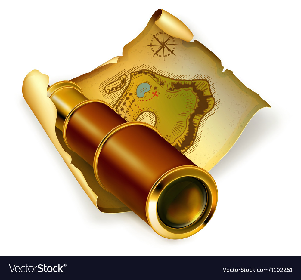 Old map and spyglass vector | Price: 1 Credit (USD $1)