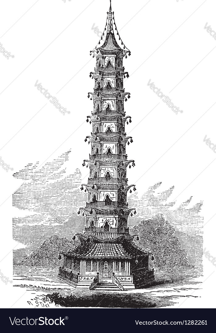 Porcelain tower vintage engraving vector | Price: 1 Credit (USD $1)