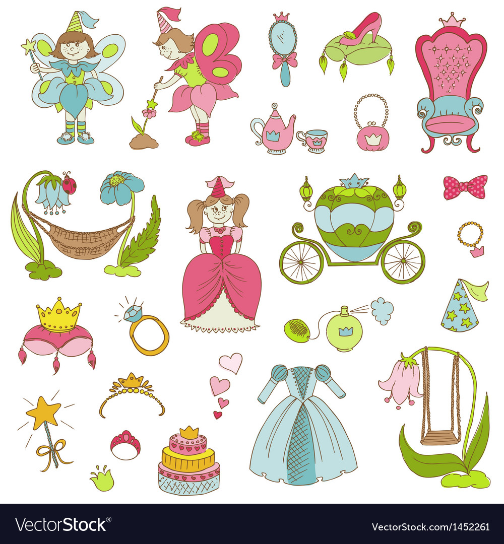 Princess girl set vector | Price: 1 Credit (USD $1)