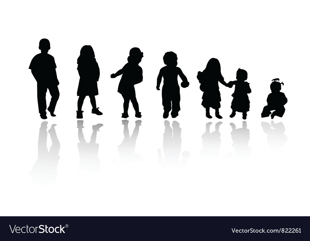 Silhouettes children vector | Price: 1 Credit (USD $1)