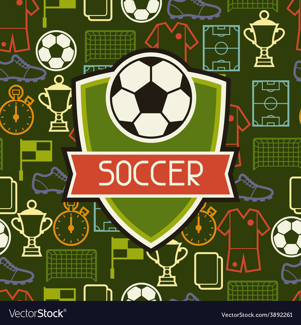 Sports seamless pattern with soccer symbols vector | Price: 1 Credit (USD $1)