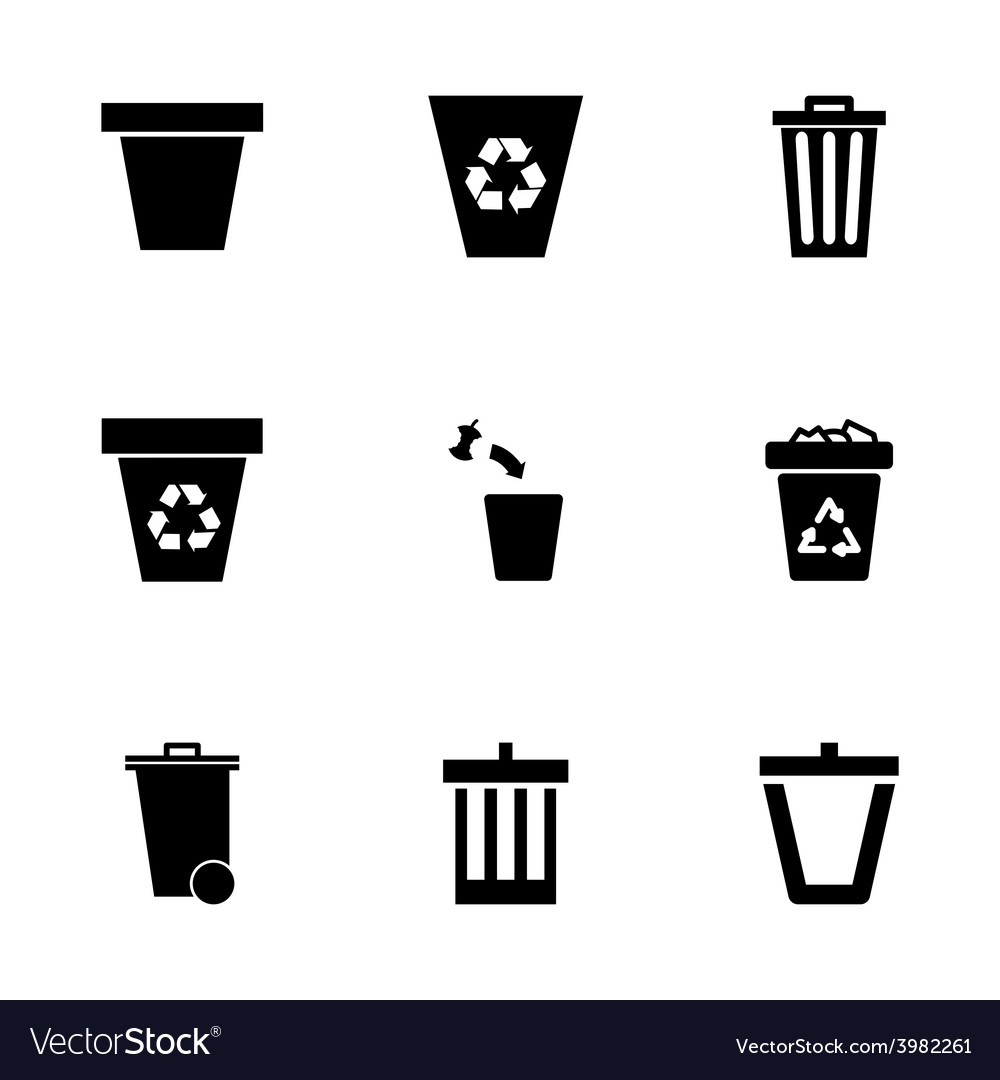 Trash can icon set vector | Price: 1 Credit (USD $1)