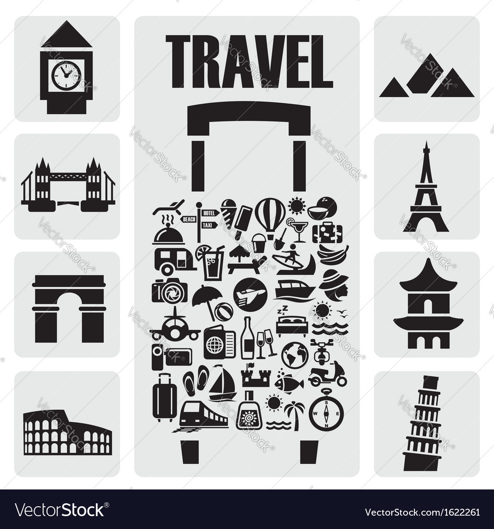 Travel icon set vector | Price: 1 Credit (USD $1)