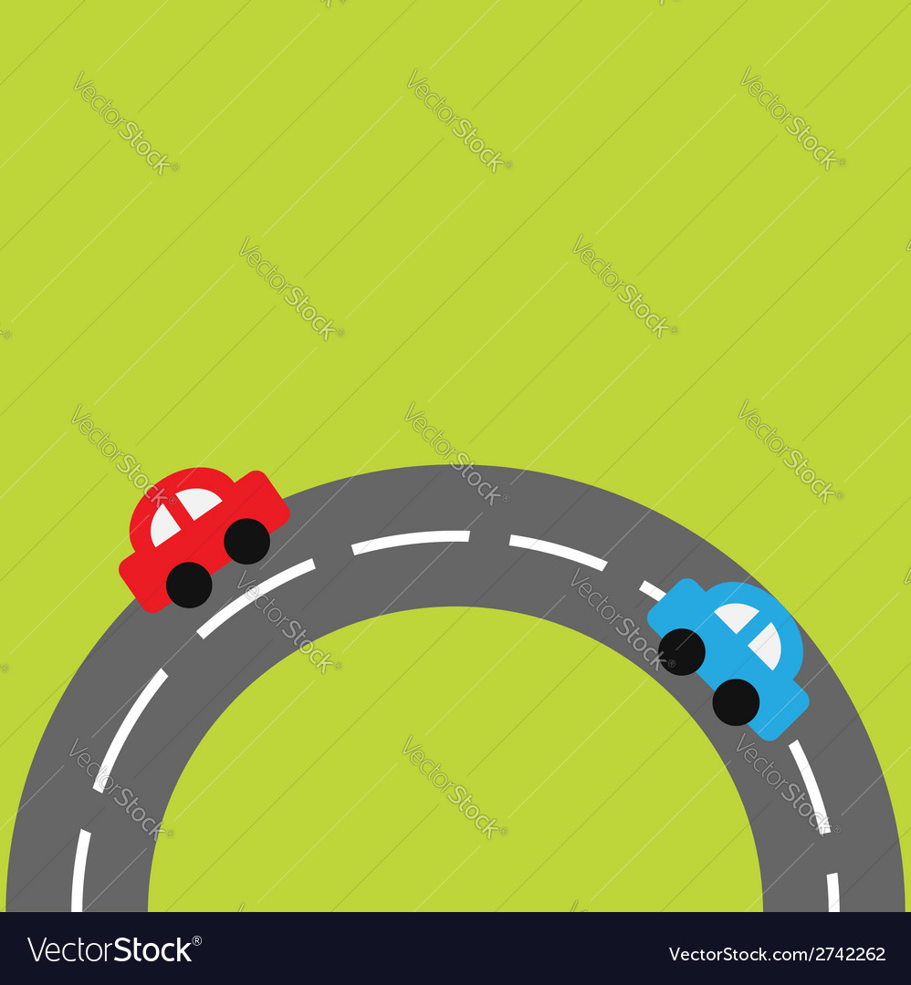 Background with round on the bottom road cars vector | Price: 1 Credit (USD $1)
