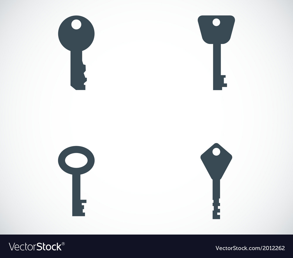 Black key icons set vector | Price: 1 Credit (USD $1)