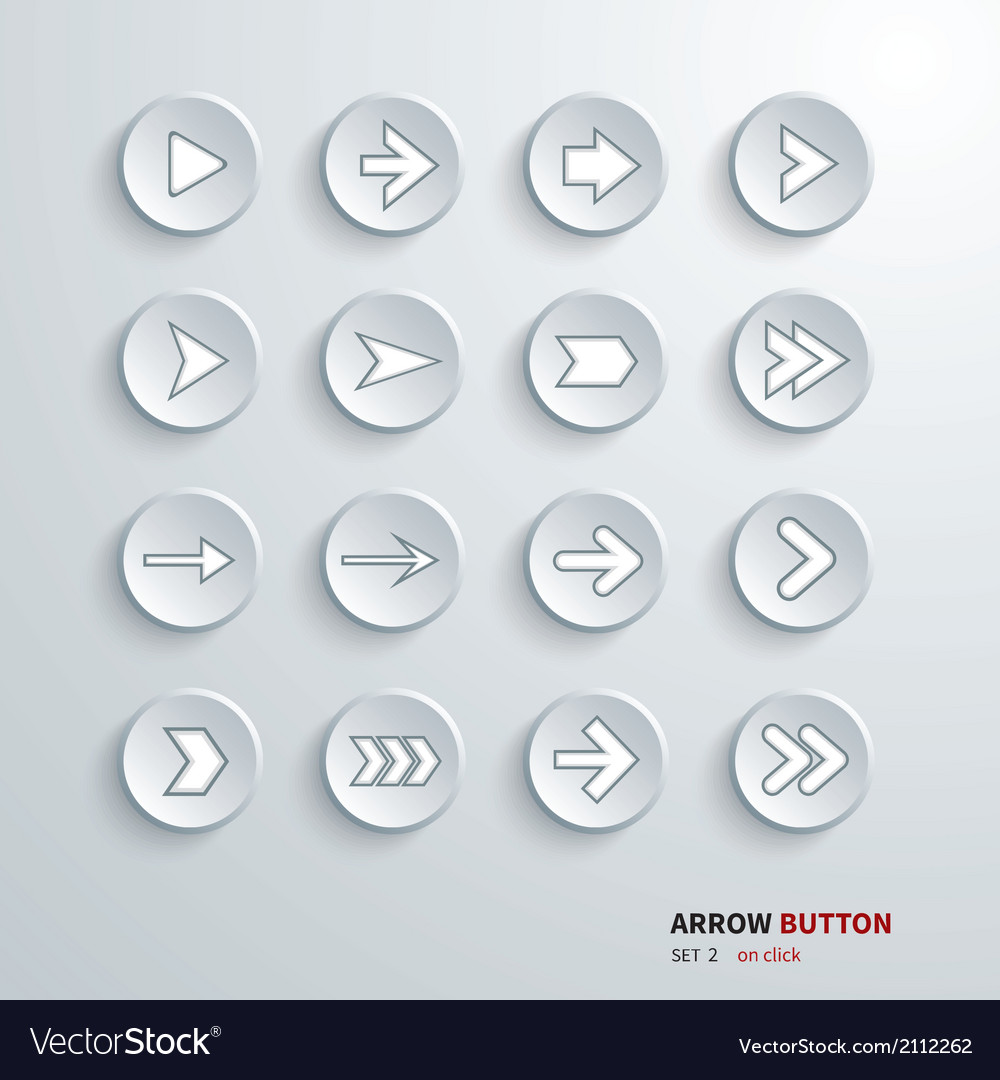 Button arrow sign icon set vector | Price: 1 Credit (USD $1)