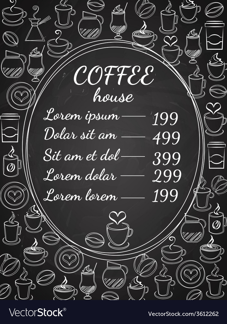 Coffee house chalkboard menu vector | Price: 1 Credit (USD $1)