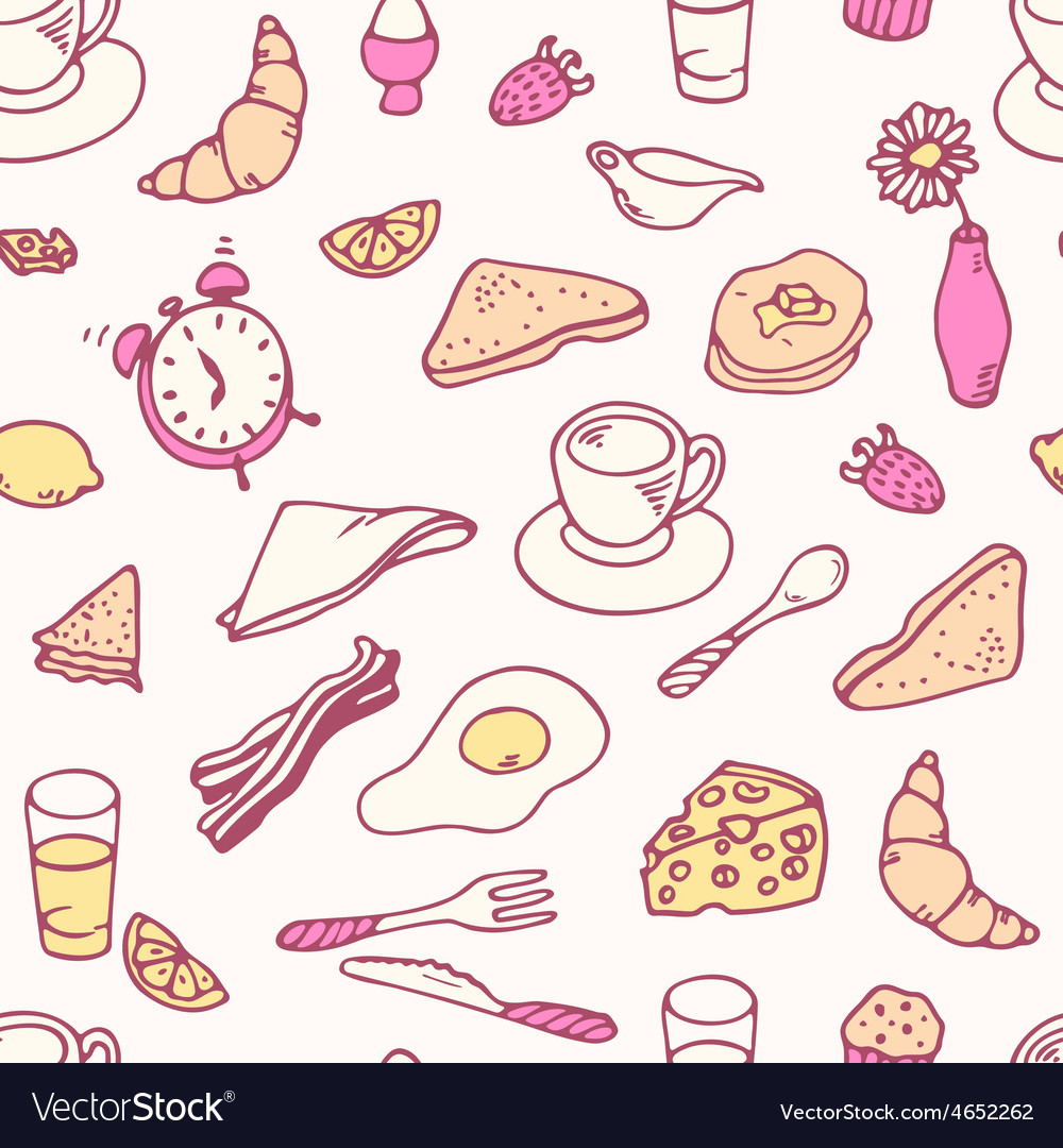 Doodle breakfast seamless pattern vector | Price: 1 Credit (USD $1)