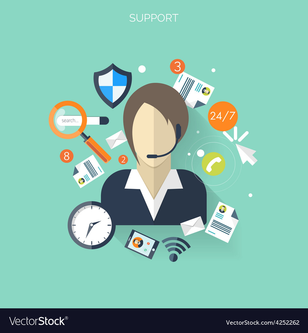 Flat support service background temwork concept vector | Price: 1 Credit (USD $1)