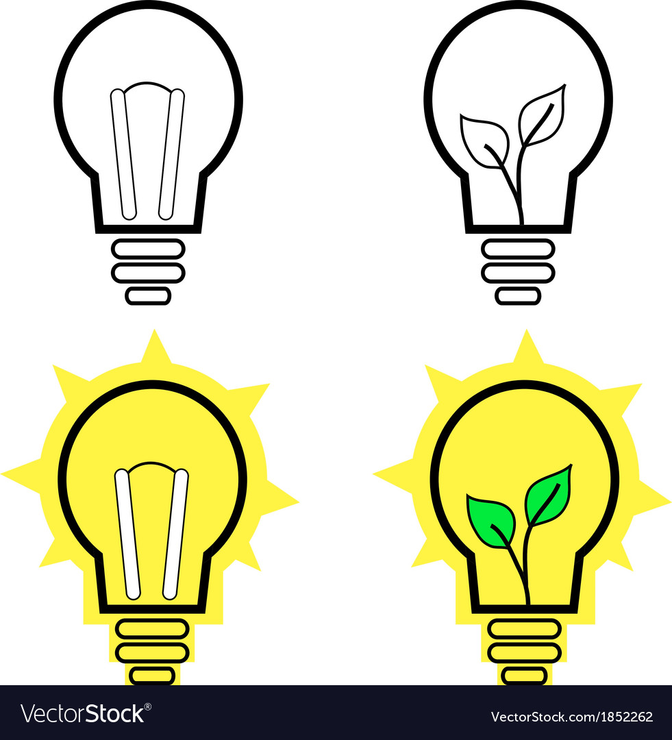 Lit light bulb isolated on white vector | Price: 1 Credit (USD $1)