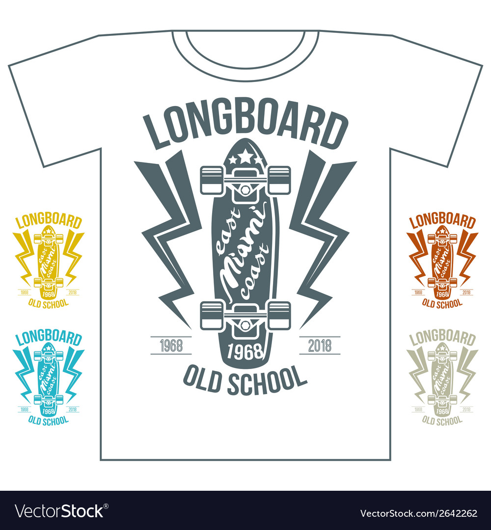 Longboard emblem retro print on white background vector | Price: 1 Credit (USD $1)