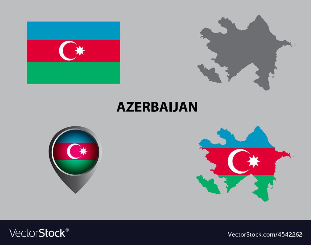 Map of azerbaijan and symbol vector | Price: 1 Credit (USD $1)