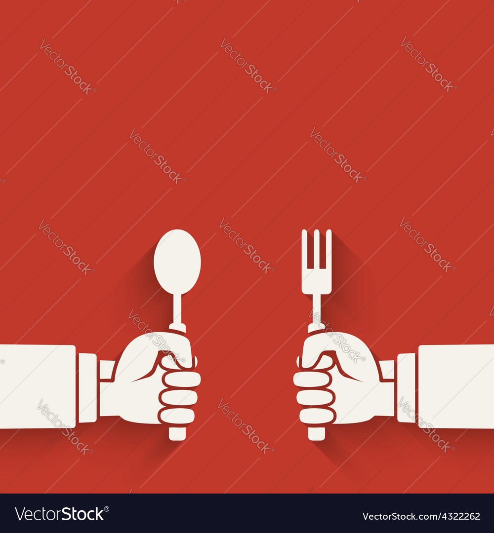 Menu red background hands with fork and spoon vector | Price: 1 Credit (USD $1)