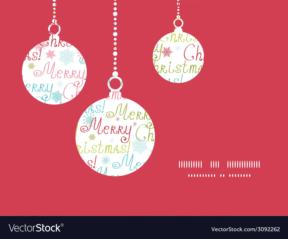 Merry christmas text holiday ornaments silhouettes vector | Price: 1 Credit (USD $1)
