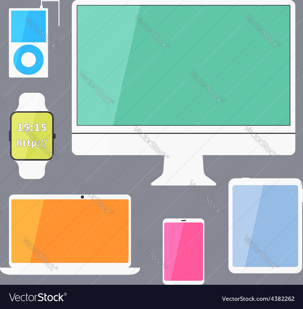 Modern business ui devices set - display digital vector | Price: 1 Credit (USD $1)