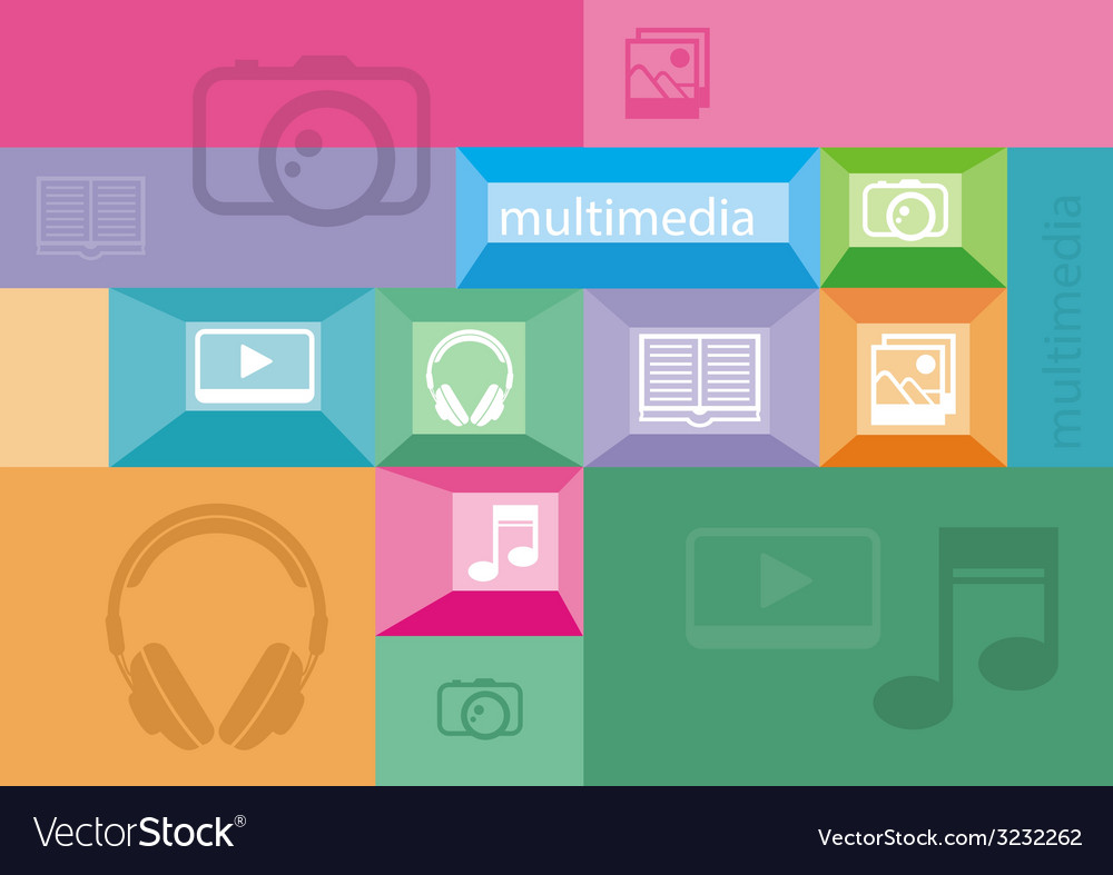 Multimedia icons of user interface elements vector | Price: 1 Credit (USD $1)